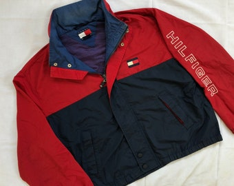 a8ff995b54018 Vintage TOMMY HILFIGER Jacket Big Logo Two Tone
