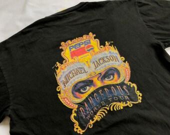 d20625f7643 Vintage 90's Michael Jackson World Tour Concert Dangerous Promo Pepsi Shirt