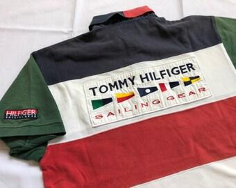 a0d1f540c Vintage 1990's TOMMY HILFIGER Sailing Gear Polos Shirt Block Color