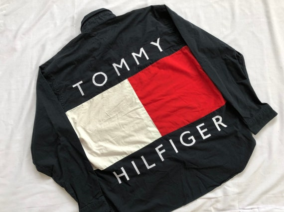 Vintage Tommy Hilfiger Yellow Green Spell Out Windbreaker (Size L) — Roots