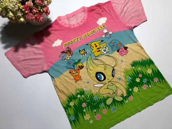 Vintage Pokemon Shirt Over print Pocket Monster ma