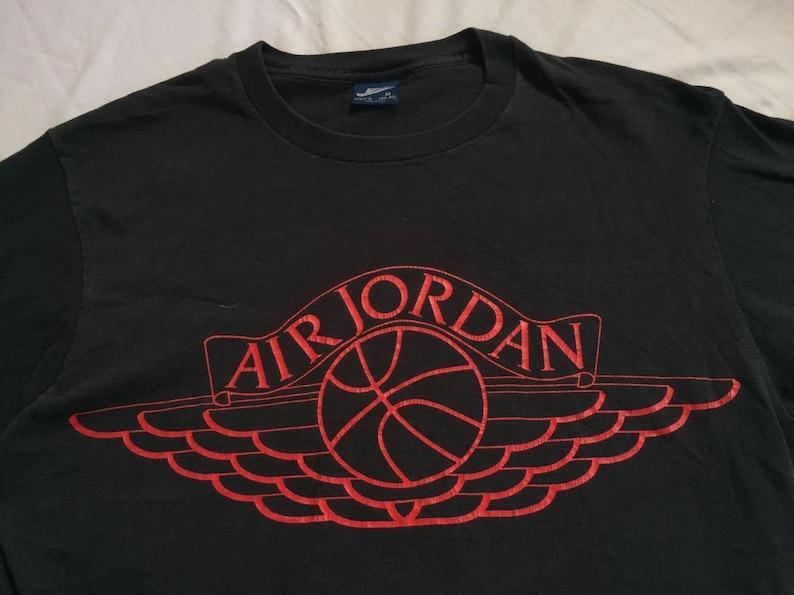 d5622f5f812385 Vintage 80s RARE Nike Air Jordan Wings T Shirt