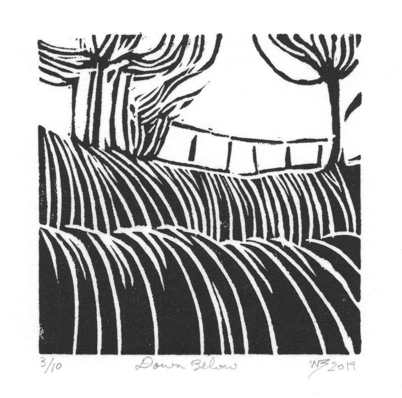 lino print abstract small hand pulled art print Original linocut print black and white