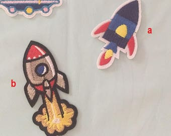 Rocket Embroidered Iron On Patch, space rocket sewing patch, rocket patch