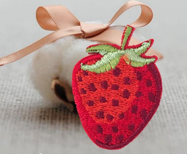 Strawberries Garden Embroidered Iron On Patch Canning Fruit Baking