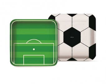 Soccer Party - Square Paper Plates 18cm  - 8 Pack