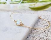 14K Gold Filled Bracelet,White Opal Bracelet,Tiny Opal Bracelet,Simple Dainty Gold Bracelet,Minimalist Gold Bracelet,Cuff Bracelet,Delicate