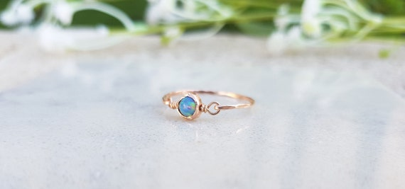 dainty ring opal gold ring jewelry opal ring blue opal gemstone ring t 13 stacking ring blue opal ring