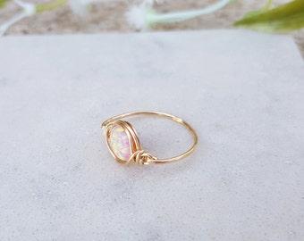 Natural Ethiopian Opal Ring, Pink Opal Ring, Rose Gold 14k Opal Ring, Opal Gold Ring, Wire Wrapped Ring, Dainty Opal Ring, Natural Stone