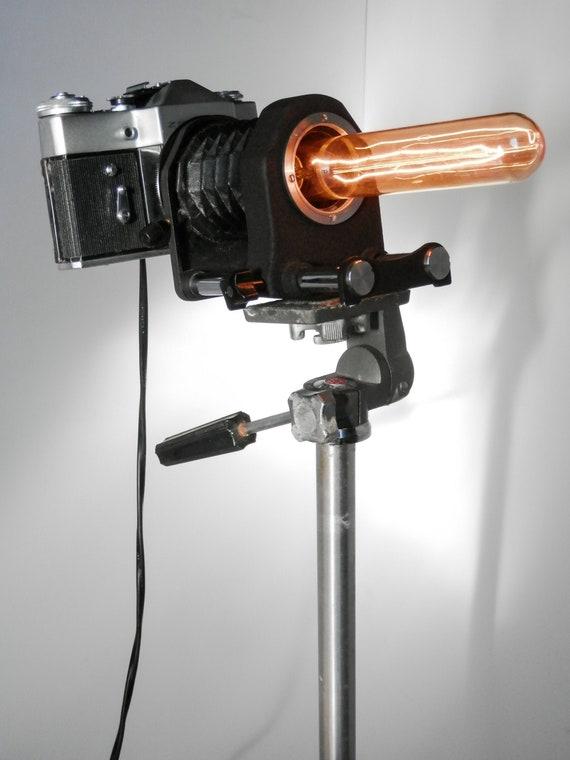 Handmade Vintage SLR Film Camera & Tripod Lamp - Creative Lighting -  Designer - Home Decor - Gift Ideas - Unique