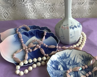 Vintage Ceramics and Jewellery - Ready to Give Gift - Pink and Blue - Free Shipping
