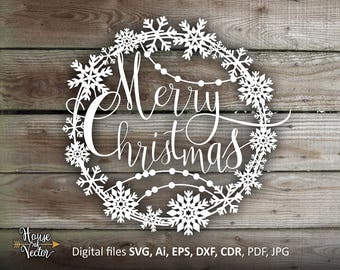 Christmas clipart SVG EPS Ai cdr. Merry Christmas vector digital download file. Silhouette Christmas clipart. Printable Jpg and Pdf files
