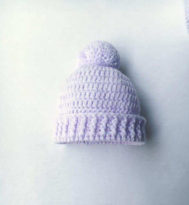 Pregnancy Reveal Baby Girl Gift Baby Photo Prop Pom Pom Hat Baby Crochet Beanie Purple Baby Hat Baby Shower Gift New Baby Girl