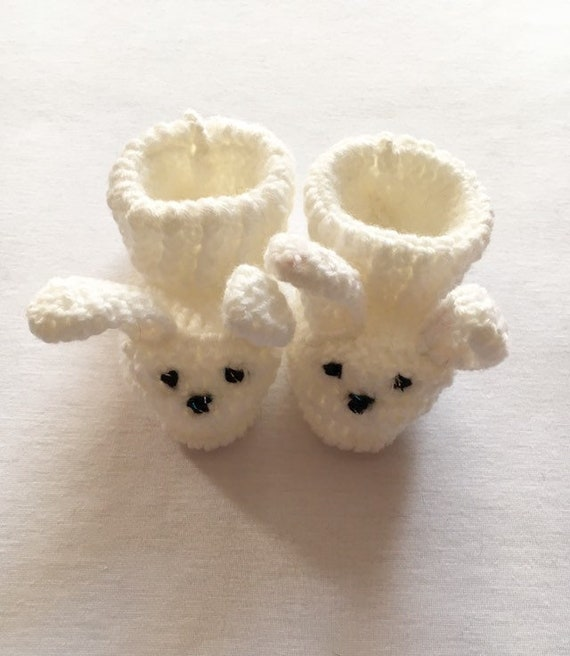 Baby Bunny Booties, Crochet Baby Shoes, Baby Shower Gift, New Baby Gift, Cream Baby Shoes, Pregnancy Reveal, Photo Prop, Baby Bunny Booties