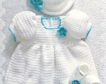 Baby Crochet Gift, Crochet Baby Set, Crochet Baby Dress, Crochet Baby Shoes, Crochet Baby Hat, 0-3mth, Newborn, Handmade, Baby Shower Gift