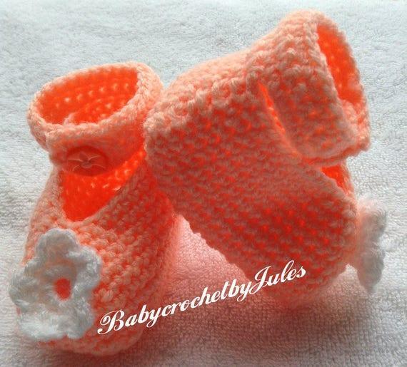 Peach Crochet Baby Shoes Baby Girl Gift