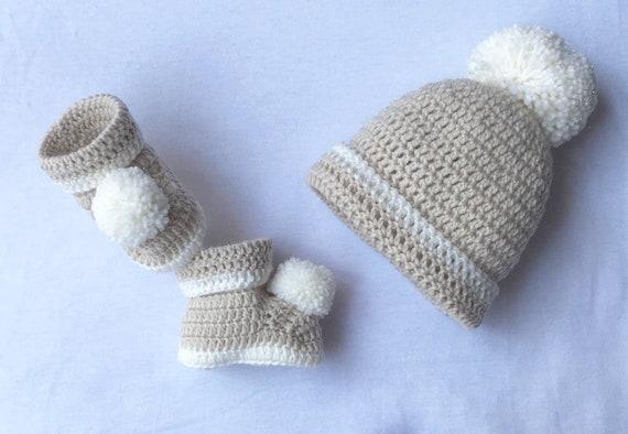 Baby Shower Gift New Baby Gift White Baby Gift Baby Photo Prop Baby Crochet Hat Pregnancy Reveal Baby Boy Gift Baby Crochet Booties