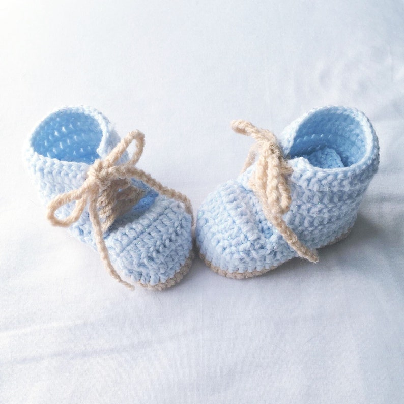f093c6ac2b1ca Baby Crochet Shoes, Crochet Baby Booties, Crochet Baby Lace Up Booties,  Baby Shower Gift, Babies First Shoes, Blue Mini Work Boots,
