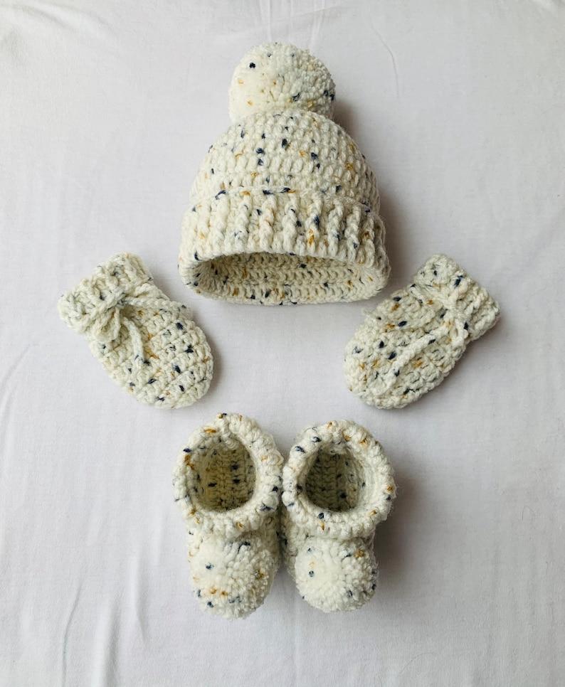 Baby Crochet Hat Unisex Baby Gift Baby Photo Prop Beige Multi Baby Gift Set Baby Shower Gift Baby Crochet Booties Pregnancy Reveal
