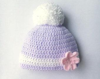 Crochet Baby Hat, Baby Crochet Beanie, Crochet Baby Pompom Hat, Baby Crochet Pompom Hat, Baby Shower Gift, Baby Photo Prop, 0-3mths