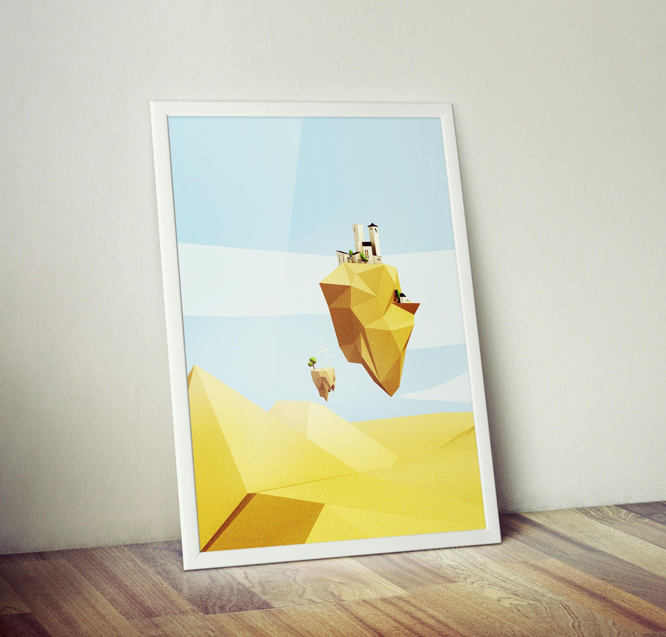 Floating Desert City Printable Art Minimalist Poster   Etsy