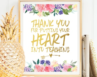 Thank you Gift for Teacher Thanksgiving Gift Teacher Thank You Gift Teacher Christmas Gift Teacher Gift Printable Teacher Gifts Personalized
