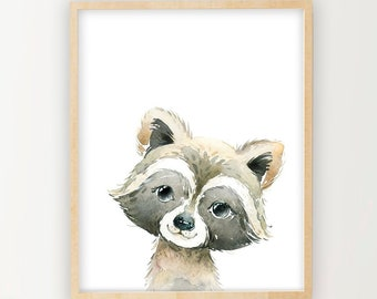 Racoon poster | Etsy