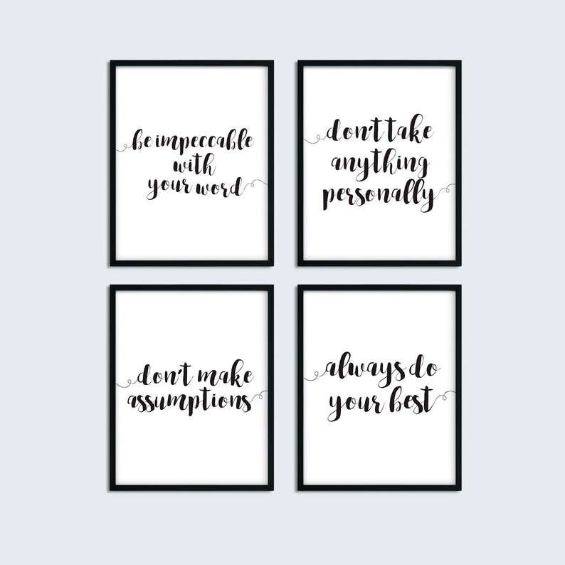 picture about The Four Agreements Printable called The 4 Agreements Printable Quotations, Preset of 4 Piece Wall Artwork Posters, Put on Miguel Ruiz E-book Printable Estimate, Motivational Wall Artwork Decor