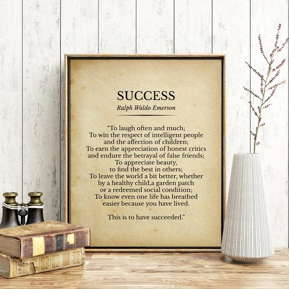 Success Ralph Waldo Emerson Poem Print Decor Inspirational Etsy