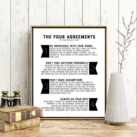 The Four Agreements Printable Quotes Don Miguel Ruiz Etsy