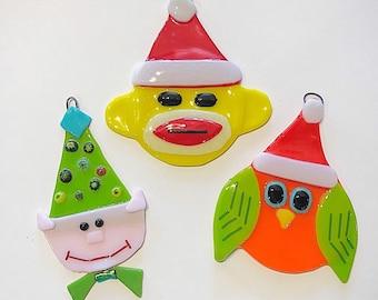 3 pc glass christmas ornament set christmas ornaments glass ornaments fused glass holiday ornaments free shipping - Fused Glass Christmas Ornaments