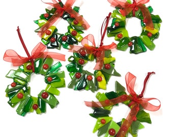 5 pc glass christmas wreath ornament set christmas ornaments glass ornaments fused glass holiday ornaments free shipping