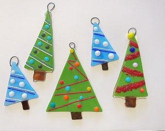 5 pc glass christmas tree ornament set christmas ornaments glass ornaments fused glass holiday ornaments free shipping - Glass Christmas Ornaments