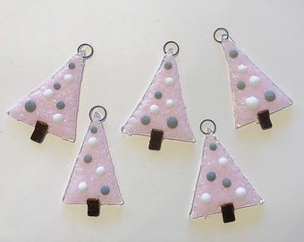 5 pc glass christmas tree ornament set christmas ornaments glass ornaments fused glass holiday ornaments free shipping - Fused Glass Christmas Ornaments