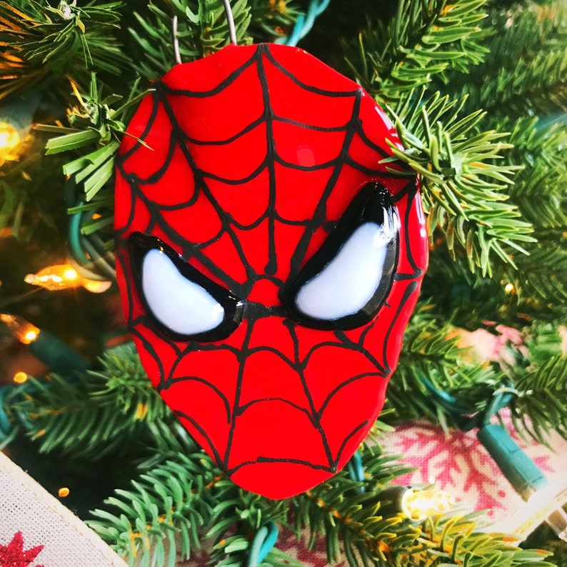 Spider Man Ornaments Fused Glass Ornaments Christmas Ornaments Glass Ornaments Christmas Tree Ornaments