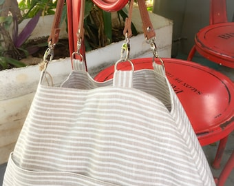 Bag 'soline' * striped beige and white