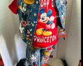 Mickey Birthday Boy or Girl Distressed Mickey Mouse Denim Jacket Vest Tee Jeans ANY CHARACTER AVAILABLE Mickey, Minnie Birthday Outfit