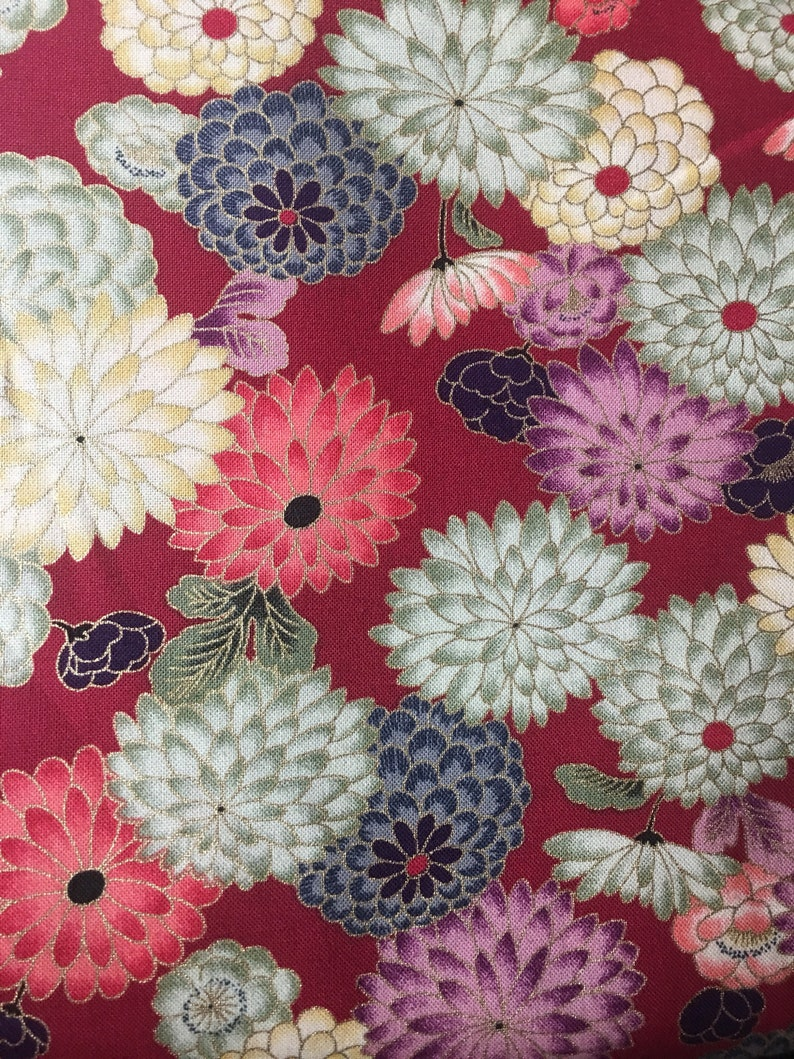Asian Fabric Floral Flower Japanese Chinese Fabric White Etsy
