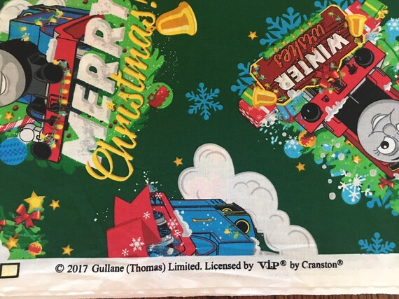 Thomas The Train Christmas.Thomas The Train Christmas Fabric 100 Cotton Fabric Green Background Licensed By Vip Cranston