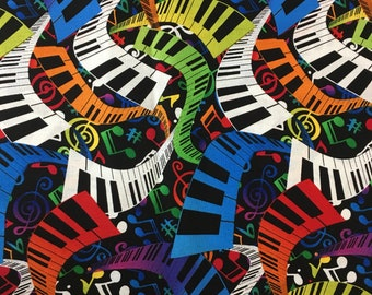 "Piano Keyboard Music Novelty Fabric / multi color on Black / 100% cotton / Hi-Fashion Fabrics / Remnant 16"" x 42"""