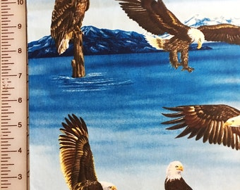 Bald Eagle Fabric / 100 % Cotton / Blue and Brown / Remnant 17 x 42 ""