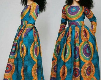 292068d0aaee African maxi dress with two sides pockets