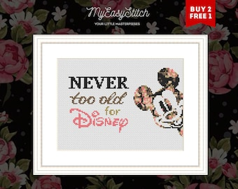 Triple Self-Portrait Cross Stitch Pattern,DIY Mickey /& Walt Disney/'s