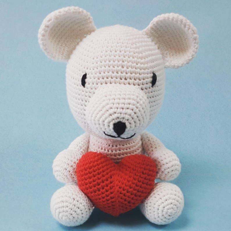 100Etsy al con cuoreUncinetto Teddy mano Amigurumi fatto a il Ovm80wNn