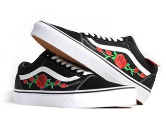 Black Vans Old Skool Red Rose Custom Shoes Embroidery