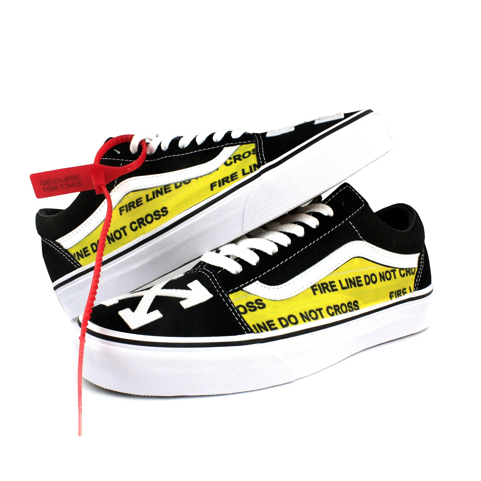 Vans Old Skool x Embroidery Off White Stripes Custom Embroidery x Uni-Sex Off The Wall Shoes 8f4d2e