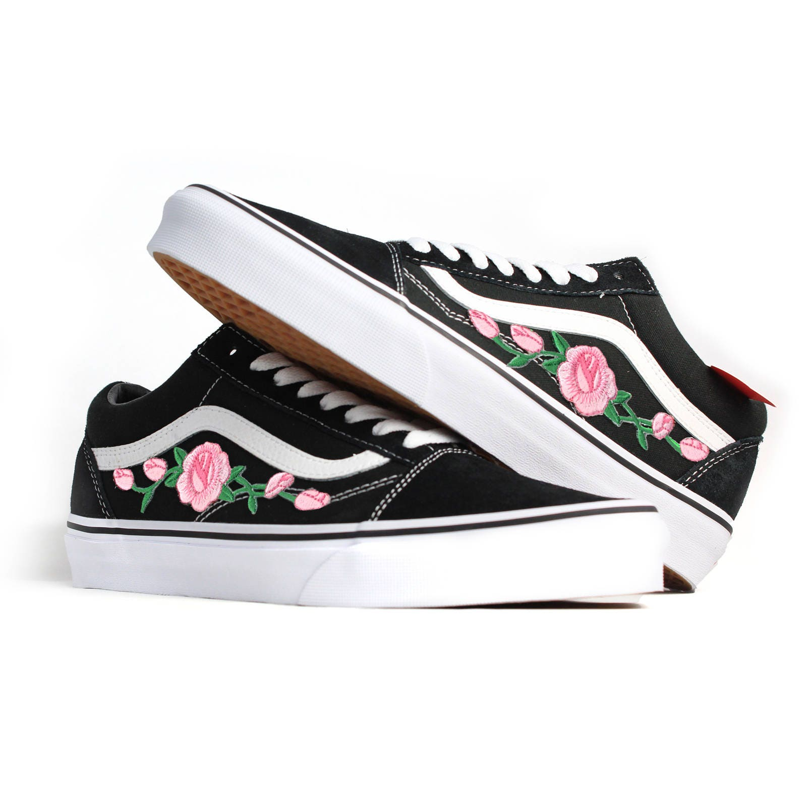 dae74dfb6e Etsy Broderie Vans Rose Old Noirs Qqvpz Skool Chaussures qO1px48zw
