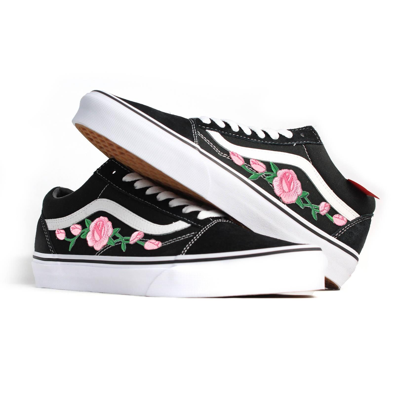 Old Skool Etsy Rose Noirs Chaussures Broderie Vans CEx5qw1YF1