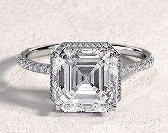 Handmade Ring 1.2 Carat Cushion Cut Moissanite Double Edge Halo Engagement Ring Moissanite Rings Moissanite Engagement Ring