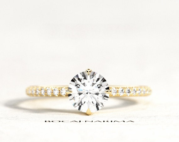 1ct Forever One Moissanite Pave Engagement Ring, Pave Solitaire Engagement Ring, 4 Prongs Cat Claws Setting, 1ct Moissanite & Pave Diamonds